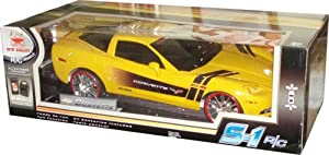 New Bright 1:6 Scale S-1 R/C Sport-One Full Function (Forward,Reverse, Left and Right) 49 MHz Radio Control Car - Yellow Sport Coupe Corvette with 1 Transmitter, 1 Battery Pack and Charger, 2 AA Batteries, 2 Antenna Tubes and Instruction Manual