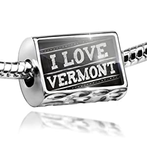 Charm Chalkboard with I Love Vermont - Bead Fit All European Bracelets , Neonbl