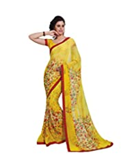 Memsahiba Women Printed Georgette Saree Lemon