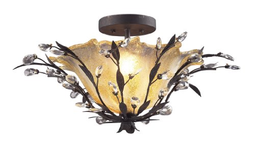 Elk 8059/2 2-Light Semi Flush In Deep Rust and Crystal Droplets