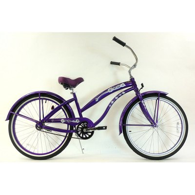 Women's Single Speed Aluminum Beach Cruiser Frame Color: Purple