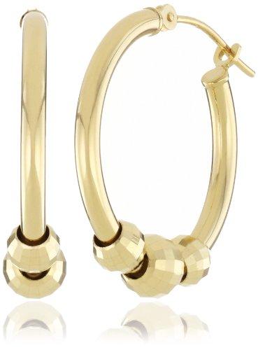 Duragold 14k Yellow Gold Mirrored Bead Hoop Earrings
