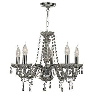 Marie Therese 8695-5GY Kronleuchter, Deckenleuchter mit 5 Lampen, Rauchglas, Grau