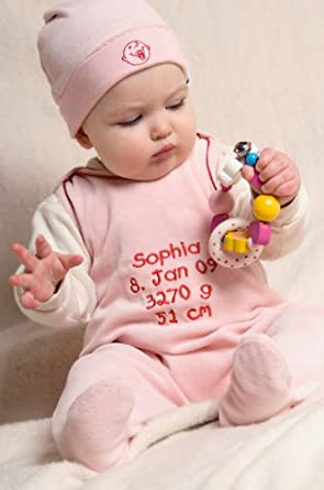 baby strampler mit name geburtsdaten rosa. Black Bedroom Furniture Sets. Home Design Ideas