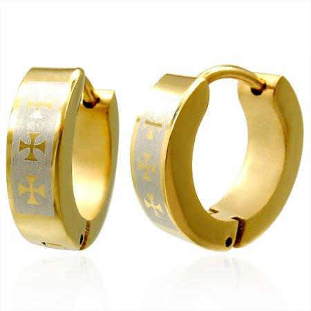 Stainless Steel Gold Maltese Cross Huggie Earrings for Men and Women