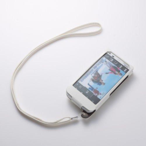 スタンド&ネックストラップ付本革レザーケース for AQUOS PHONE ZETA SH-02E(ホワイト)
