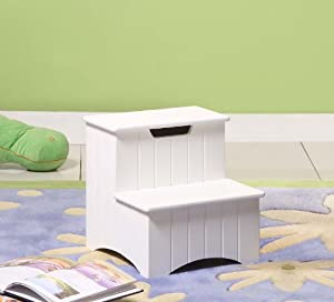 White Finish Wood Bedroom Step Stool With Storage Kitchen Dining
