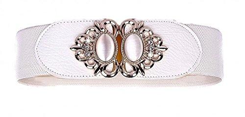 Aini Savoie Faux Leather Floral Interlock Buckle Elastic Waist Belt Cinch white - S