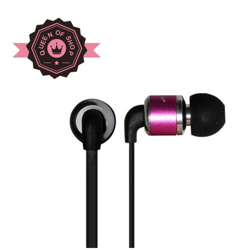 Queen I630 Purple Wired In-Ear Earbud 3.5Mm Universal Mobile Headset With In-Line Multi-Function Answer/Call Button