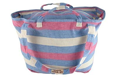 Blue Pink and White Striped Cotton Large Shopper Travel Beach Bag by Bill Brown