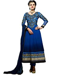 Blue Embroidered Semi Stitched Anarkali Suit