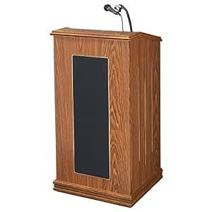 "Oklahoma Sound 711-MO Prestige Floor Sound Lectern, 22"" Width x 47"" Height x 18"" Depth, Medium Oak"