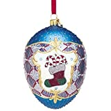 Reed and Barton Happy Holiday Blown Glass Ornament