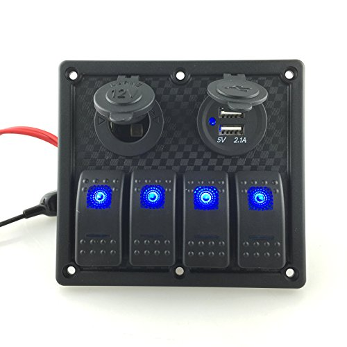 IZTOSS 12V-24V DC 4 gang Waterproof marine blue led switch panel with power socket and USB (12v Rocker Switch Panel compare prices)