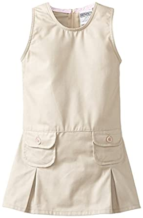 Genuine Little Girls'  Jumper with Two Faux Coin Pockets and Pleats, Khaki, 4