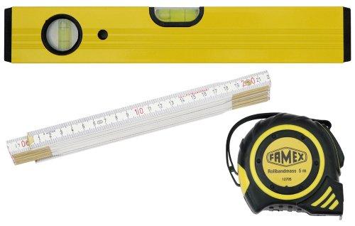 Famex-12812-Set-Messwerkzeuge-3-teilig-Rollbandma-5-m-Zollstock-2-m-Leichtmetall-Wasserwaage