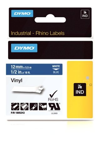 Dymo Rhino Adhesive Vinyl Label Tape, 1/2-Inch, 18-Foot Cassette, Blue (1805243)