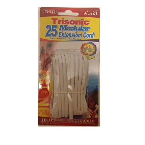 Trisonic Telephone Extension Cord Phone Cable Foot (White, 25 Feet) (25 Feet White Phone Cord compare prices)