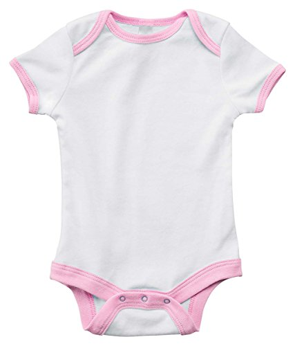 Bella Canvas Infant Short-Sleeve Baby Rib Ringer One-Piece - WHITE/PINK - 18-24MOS