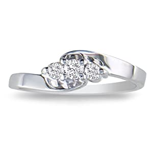 1/10ct Three-Stone Diamond Promise Ring in Sterling Silver, Available Ring Sizes 3.5-10, Ring Size 7.5