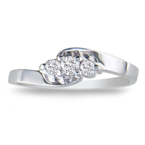 1/10ct Three-Stone Diamond Promise Ring in Sterling Silver, Available Ring Sizes 3.5-10, Ring Size 8