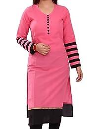 Kurti (Lady Zone Women's Cotton Printed Pink & Black Kurti) ( Free Size Altrable Till 42-44 OR XL)