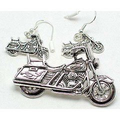 Silver Toned Motorcycle Pendant and Earrings Set
