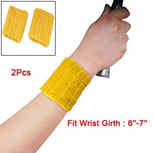 Como Pair Sports Elastic Wrist Band Support Brace Yellow