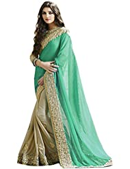 Light Green Georgette Embroidery Work Saree With Blouse