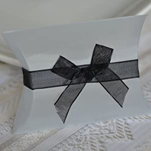 Self Adhesive Organza Bow and Ribbon - Black (20 Count)
