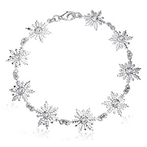 Bling Jewelry CZ Round Bezel Setting Winter Snowflake Bracelet 925 Sterling