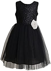 My Pink Closet Girls' 6-7 Years Frock (23A_6-7 Years_Black)
