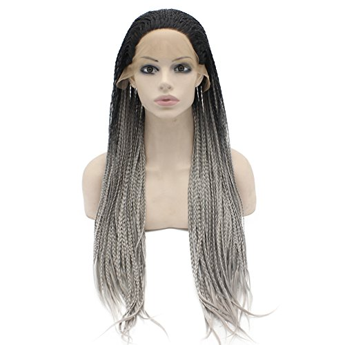 Mxangel Heat Resistant Ombre Black Gray Micro Braided Hair Wig Half Hand Tied Synthetic Lace Front Natural Long Grey Ombre Braid Wig (Hand Tied Braids compare prices)