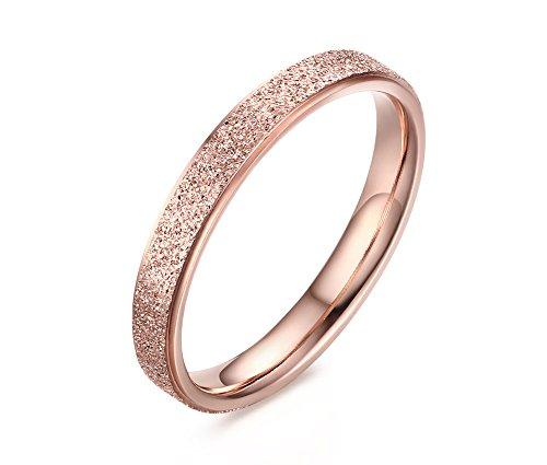 Vnox Anello a fascia in acciaio inox finitura opaca sabbiata per le donne da sposa promessa di fidanzamento in oro rosa,Dimensione 14.5