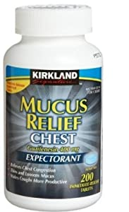 Kirkland Signature Mucus Relief Chest Guaifenesin 400 mg Expectorant - 200 Im...