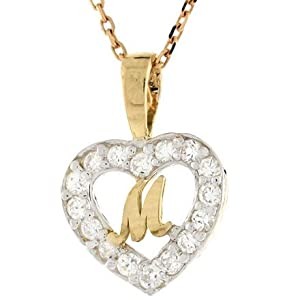 M Letter In Heart 14ct Gold Letter  m  CZ