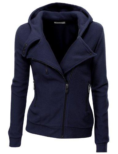 Doublju Women Career Fleece 3/4 Sleeve Jumper NAVY,M