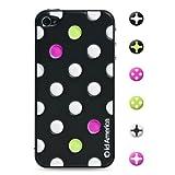 id America iPhone4S,iPhone4用 3D保護シール Cushi Dot Black csi404BLK