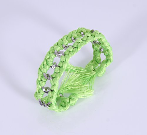 Kit bracelet chaîne argent et fil fluo vert U2031