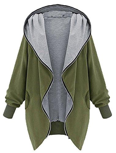 Minetom Donna Autunno Hoody Giacca Con Cappuccio Oversize Outwear Loose Felpa Parka Verde IT 46