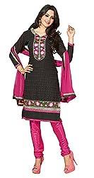 Parisha s Black Embroidered Chanderi Straight Suits Dress Material(Black,Pink)