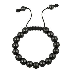 10mm Round Hematite Bead Adjustable Shamballa Bracelet