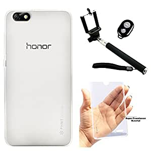 DMG PHNT Premium Scratch-Resistant Ultra Thin Clear TPU Skin Case for Huawei Honor 4X (Clear) + Handheld Selfie Monopod with Bluetooth Clicker