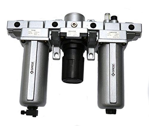"Groz 60582 Air Filter - Regulator - Lubricator, Modular 3 Piece, Metal Bowl, Standard - 1/2"" NPT , 106 CFM"