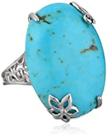 Sterling Silver Genuine Blue Turquoise Ring by Chateau D'Argent Inc