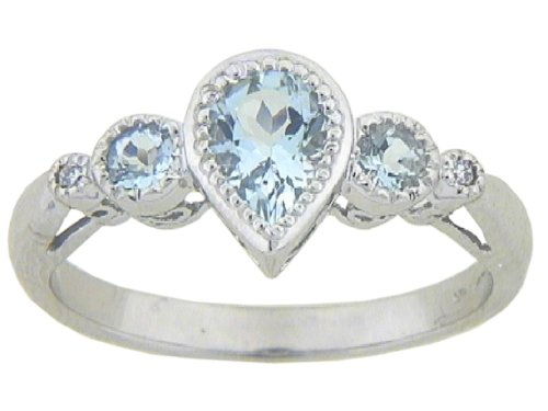 10k White Gold Pear Shaped Aquamarine 3-Stone Ring with Diamond-Accent, Size 7
