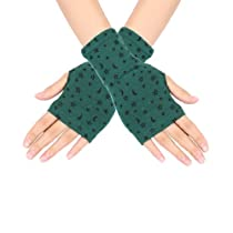 Women Moon Star Pattern Open Finger Wrist Fingerless Gloves Dark Green Pair