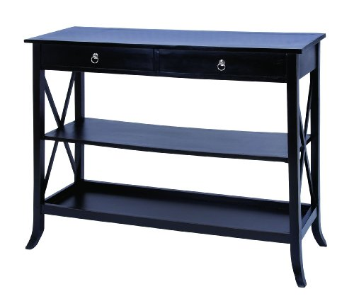Cheap Black Finish Wooden Console Table with Functional Design (B009D4VBZM)