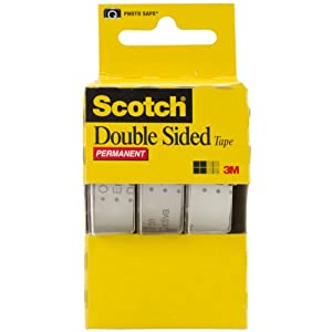 Scotch Permanent Double Sided Tape, 1/2 x 250 Inches 3-Pack Caddy(3136)