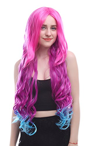 Nuoqi Womens Long Wave Synthetic Full Hairs Curly Anime Wigs